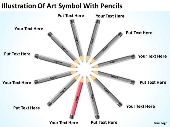 Illustration Of Art Symbol With Pencils Ppt Sample Business Plans PowerPoint Templates