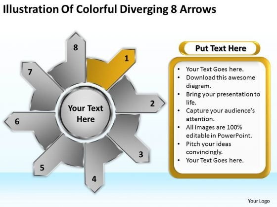 Illustration Of Colorful Diverging 8 Arrows Circular Flow Process PowerPoint Slides