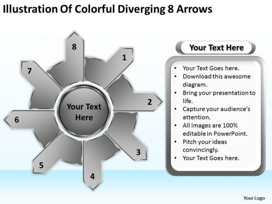 Illustration Of Colorful Diverging 8 Arrows Circular Flow Spoke Diagram PowerPoint Slides