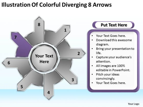 Illustration Of Colorful Diverging 8 Arrows Ppt Cycle Motion Chart PowerPoint Slides