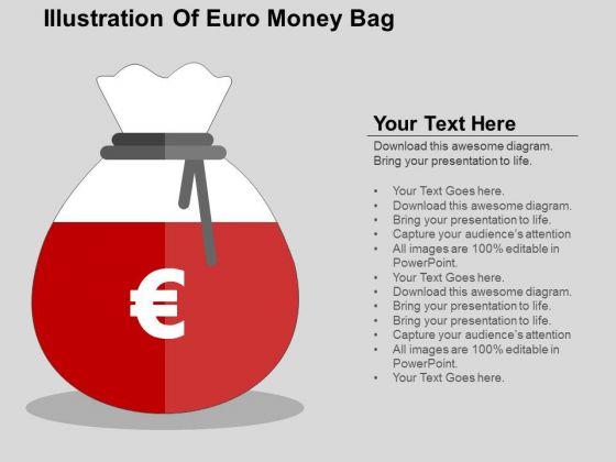 Illustration Of Euro Money Bag PowerPoint Templates