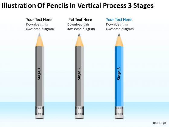 Illustration Of Pencils In Vertical Process 3 Stages Ppt Make Business Plan PowerPoint Templates