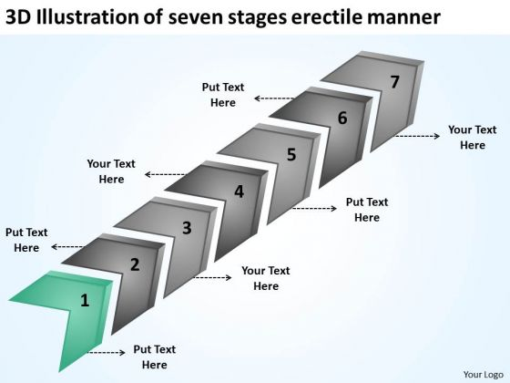 Illustration Of Seven Stages Erectile Manner Business Plans Free Templates PowerPoint Slides