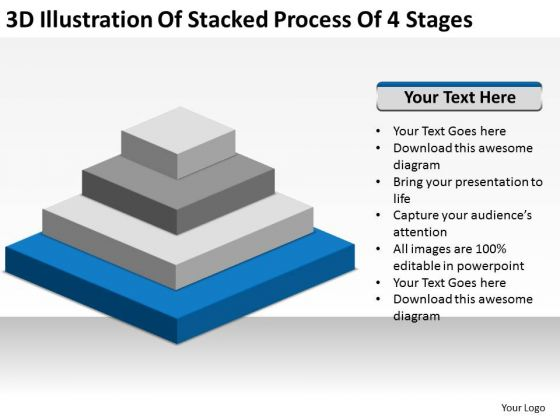 Illustration Of Stacked Process 4 Stages Ppt Business Plan For PowerPoint Templates