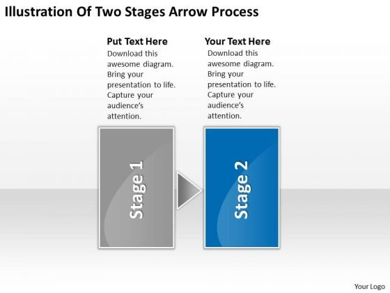 Illustration Of Two Stages Arrow Process Business Flowchart Program PowerPoint Templates