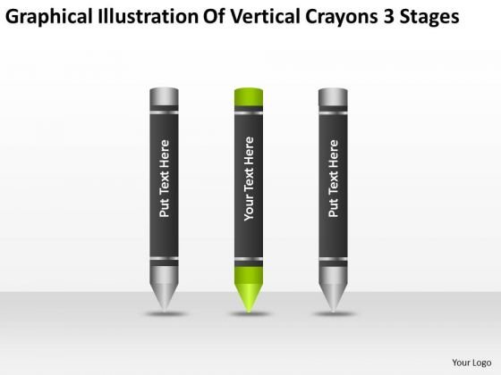 Illustration Of Vertical Crayons 3 Stages Business Plan PowerPoint Slides