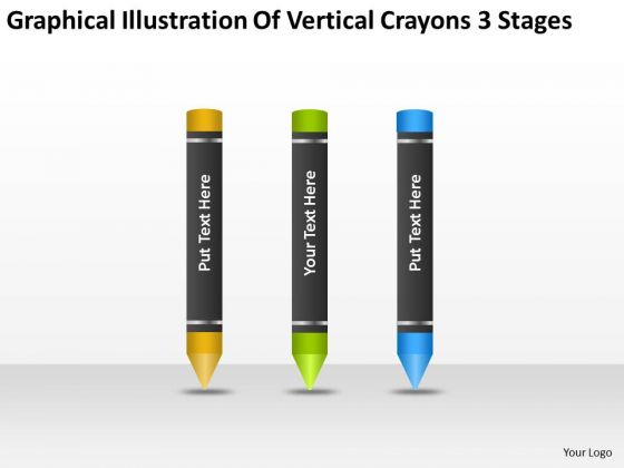 Illustration Of Vertical Crayons 3 Stages Ppt Bottled Water Business Plan PowerPoint Templates