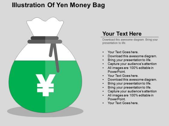 Illustration Of Yen Money Bag PowerPoint Templates