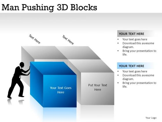 Image Isolated Man Pushing 3d Blocks PowerPoint Slides And Ppt Diagram Templates