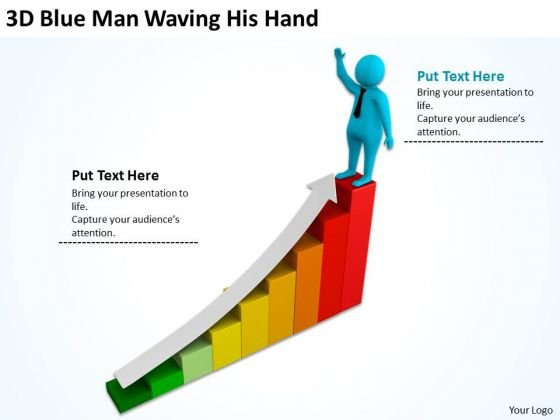 Images Of Business People 3d Blue Man Waving His Hand PowerPoint Slides
