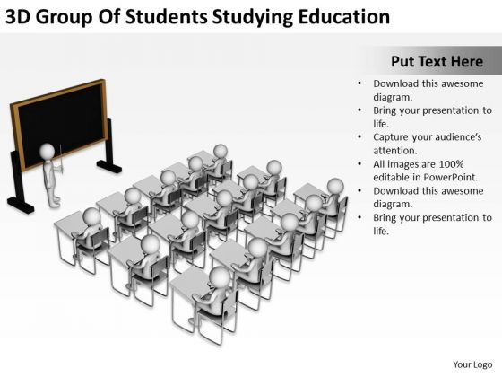 Images Of Business People 3d Group Students Studying Education PowerPoint Slides