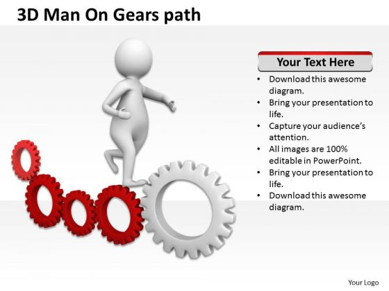 Images Of Business People 3d Man On Gears Path PowerPoint Slides