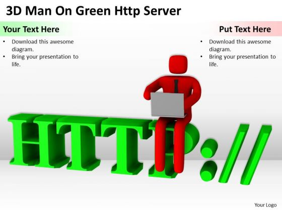 Images Of Business People 3d Man On Green Http Server PowerPoint Slides