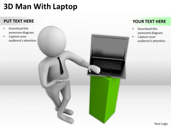 Images Of Business People 3d Man With Laptop PowerPoint Templates