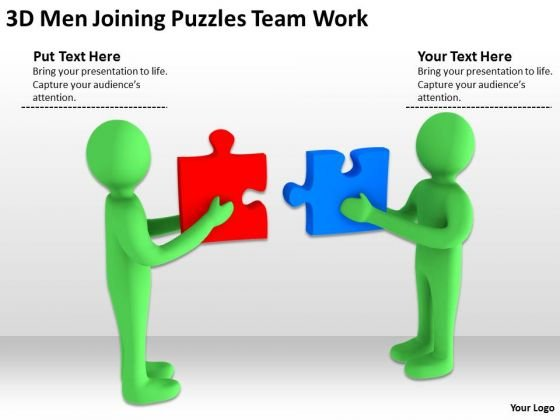 Images Of Business People 3d Men Joining Puzzles Team Work PowerPoint Slides