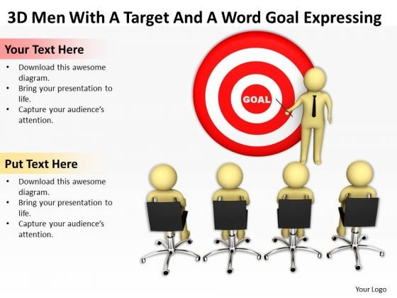 Images Of Business People 3d Men With Target And Word Goal Expressing PowerPoint Templates