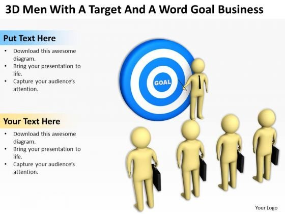 Images Of Business People 3d Men With Target And Word Goal PowerPoint Templates
