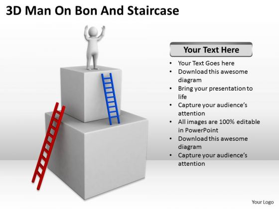 Images Of Business People Man On Bon And Staircase PowerPoint Templates Ppt Backgrounds For Slides