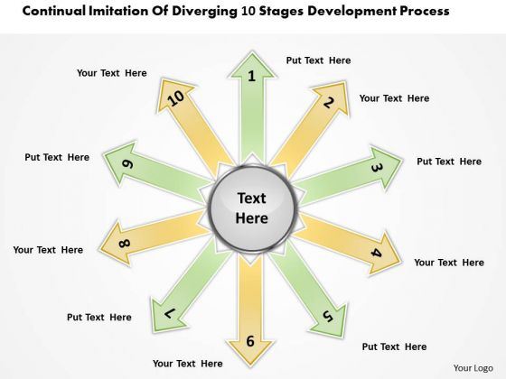 Imitation Of Diverging 10 Stages Development Process Ppt Pie Diagram PowerPoint Templates