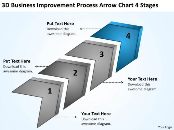 Improvement Process Arrow Chart 4 Stages Ppt Nail Salon Business Plan PowerPoint Templates