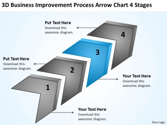 Improvement Process Arrow Chart 4 Stages Startup Business Plan Examples PowerPoint Templates