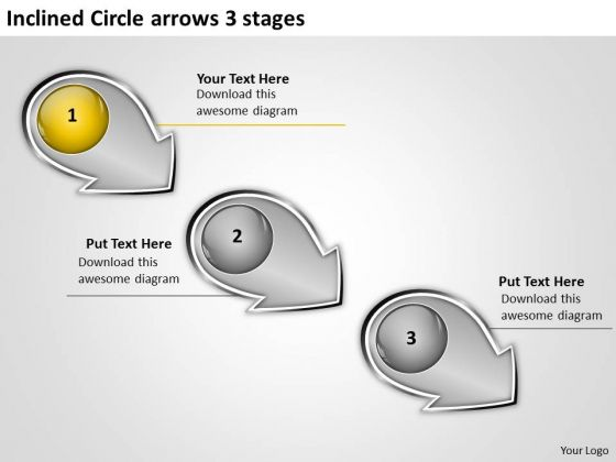 Inclined Circle Arrows 3 Stages Flowcharts Vision PowerPoint Slides