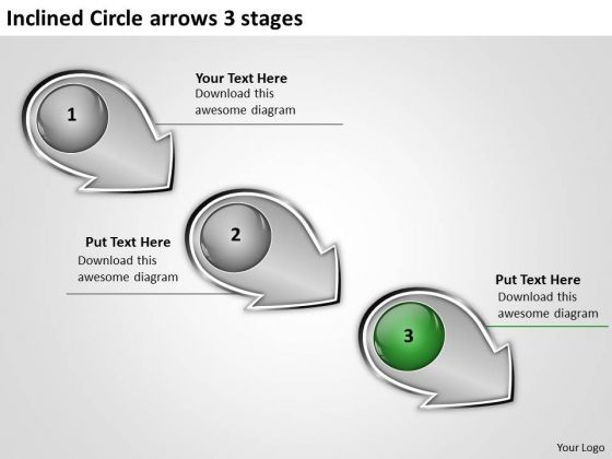 Inclined Circle Arrows 3 Stages Manufacturing Process Flow Chart PowerPoint Templates