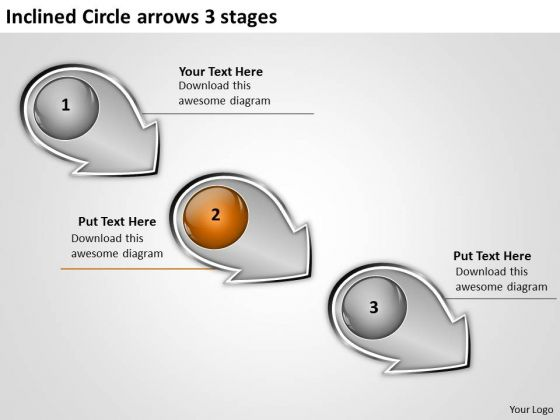Inclined Circle Arrows 3 Stages Ppt Flowcharts Vision PowerPoint Slides