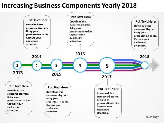 Increasing Business Components Yearly 2018 PowerPoint Templates Ppt Slides Graphics