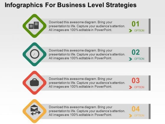 Infographics For Business Level Strategies PowerPoint Templates
