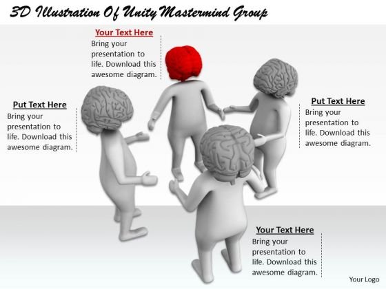 Innovative Marketing Concepts 3d Illustration Of Unity Mastermind Group Character Models