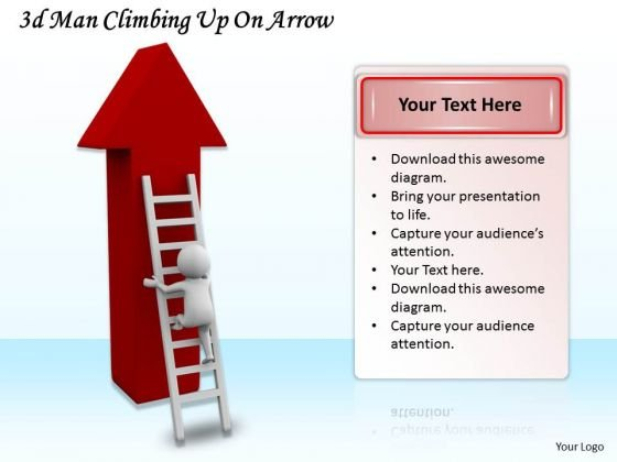 Innovative Marketing Concepts 3d Man Climbing Up Arrow Business