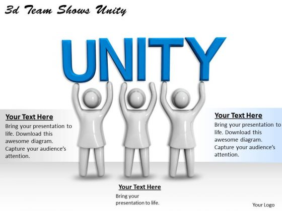 Innovative Marketing Concepts 3d Team Shows Unity Characters