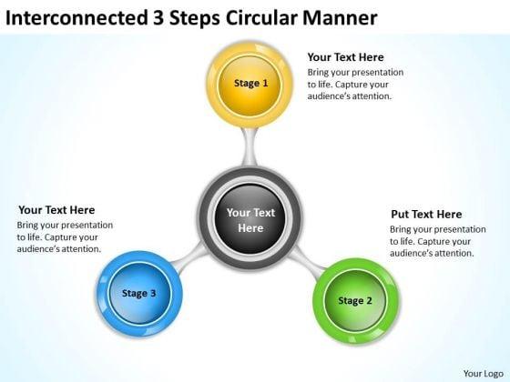 Interconnected 3 Steps Circular Manner Business Plan PowerPoint Slides