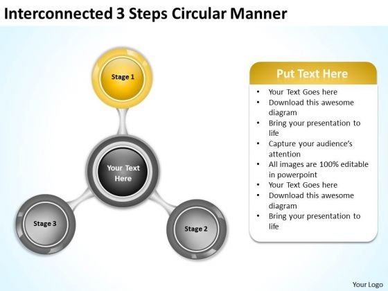 Interconnected 3 Steps Circular Manner Business Plan PowerPoint Templates