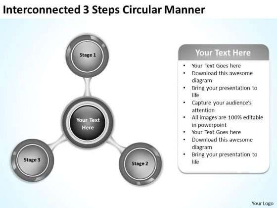 Interconnected 3 Steps Circular Manner It Business Plan PowerPoint Slides