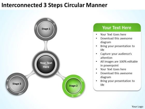 Interconnected 3 Steps Circular Manner Ppt Tutoring Business Plan PowerPoint Slides