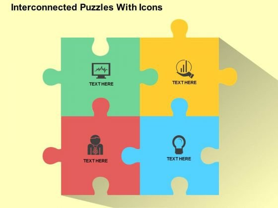 Interconnected Puzzles With Icons PowerPoint Templates