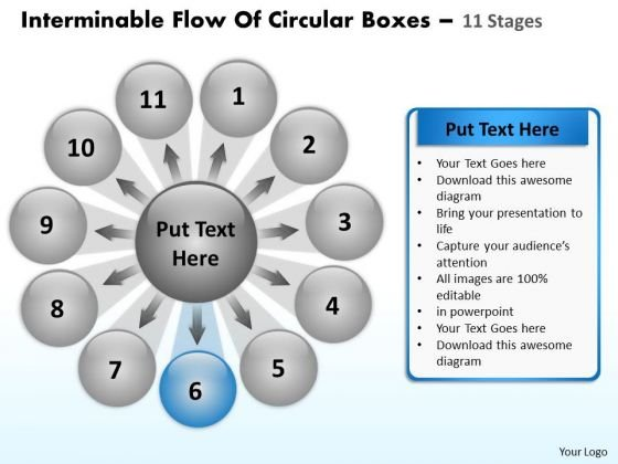 Interminable Flow Of Circular Boxes 11 Stages Cycle Spoke Chart PowerPoint Templates