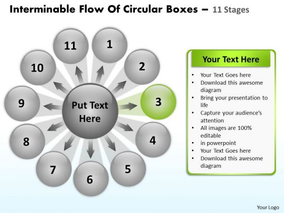 Interminable Flow Of Circular Boxes 11 Stages Cycle Spoke Process PowerPoint Templates