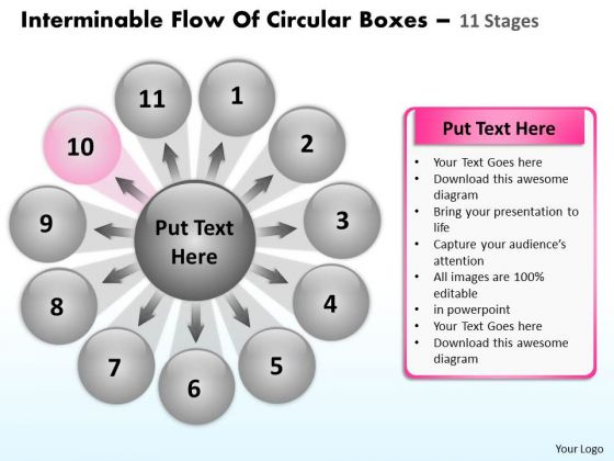 Interminable Flow Of Circular Boxes 11 Stages Ppt Process Diagram PowerPoint Slides