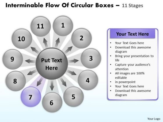 Interminable Flow Of Circular Boxes 11 Stages Process PowerPoint Slides