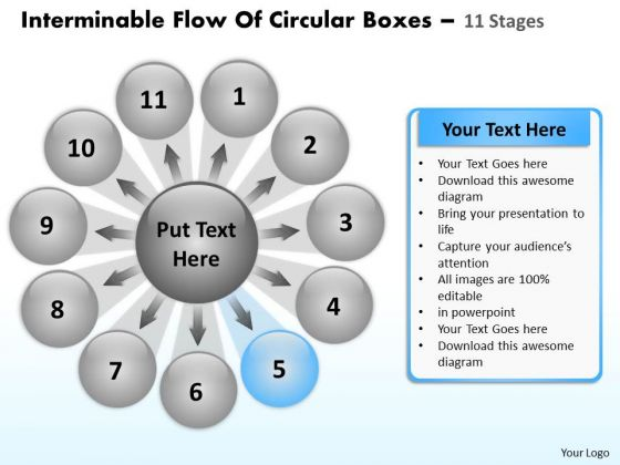 Interminable Flow Of Circular Boxes 11 Stages Relative Cycle Arrow Diagram PowerPoint Slides