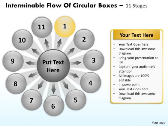 Interminable Flow Of Circular Boxes 11 Stages Venn Diagram PowerPoint Templates