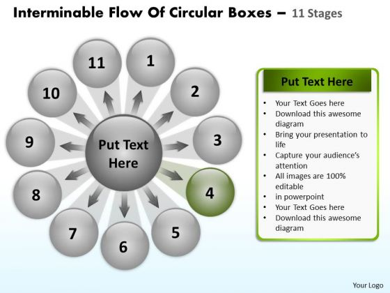 Interminable Flow Of Circular Boxes 11 Stages Venn Network PowerPoint Templates