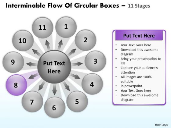 Interminable Flow Of Circular Boxes 11 Stages Venn Process PowerPoint Templates