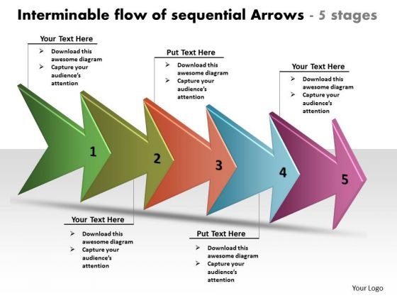 Interminable Flow Of Sequential Arrows 5 Stages Process Chart Template PowerPoint Templates