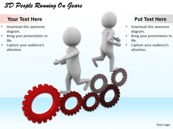 International Marketing Concepts 3d People Running Gears Business