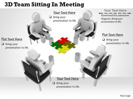 International Marketing Concepts 3d Team Sitting Meeting Characters