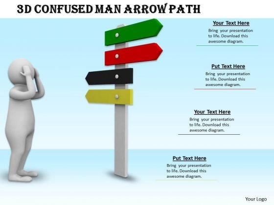 Internet Business Strategy 3d Confused Man Arrow Path Characters